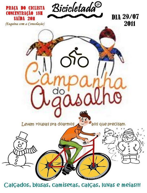 Hoje é dia de #BicicletadaSP com campanha do Agasalho!