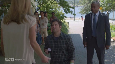 Psych: The Break Up 8x10 s08e10 shawn jules gus san francisco