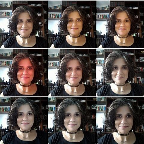 selfies usando o Lolliflash em diferentes intensidades