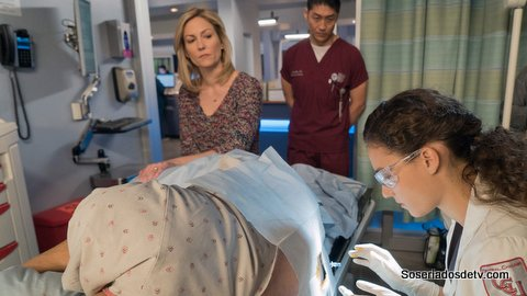 "CHICAGO MED -- ""Clarity"" Episode 110 -- Pictured: (l-r) Katherine Keberlein as Joan Cooper, Brian Tee as Dr. Ethan Choi, Rachel DiPillo as Dr. Sarah Reese -- (Photo by: Elizabeth Sisson/NBC)"