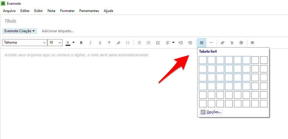 tabela para series no evernote